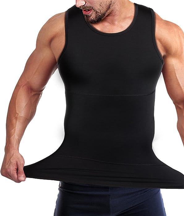 d6c2ff283 Mens Compression Shirt Slimming Body Shaper Vest Workout Tank Tops Abs  Abdomen Undershirts(Black