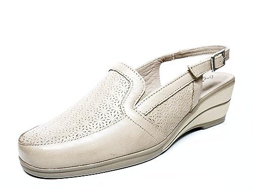 PITILLOS Zapato Mujer Mocasin de La Marca Cuña Piel Color Crema con Grabado EN Pala,