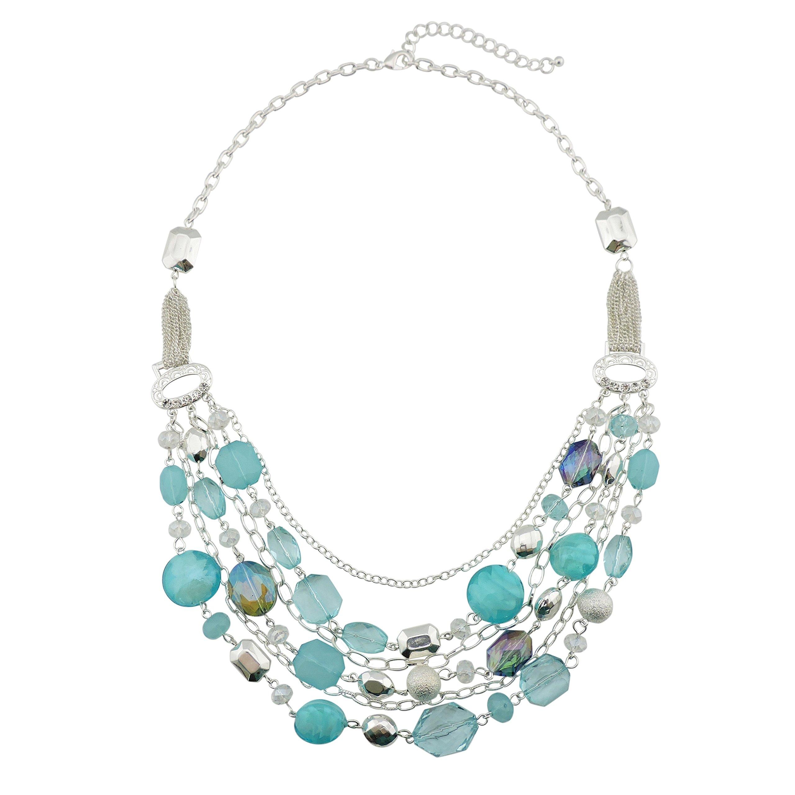 Bocar Newest Multi Layer Chain Crystal Colored Glaze Statement Women Necklace (NK-10061-Aquamarine)