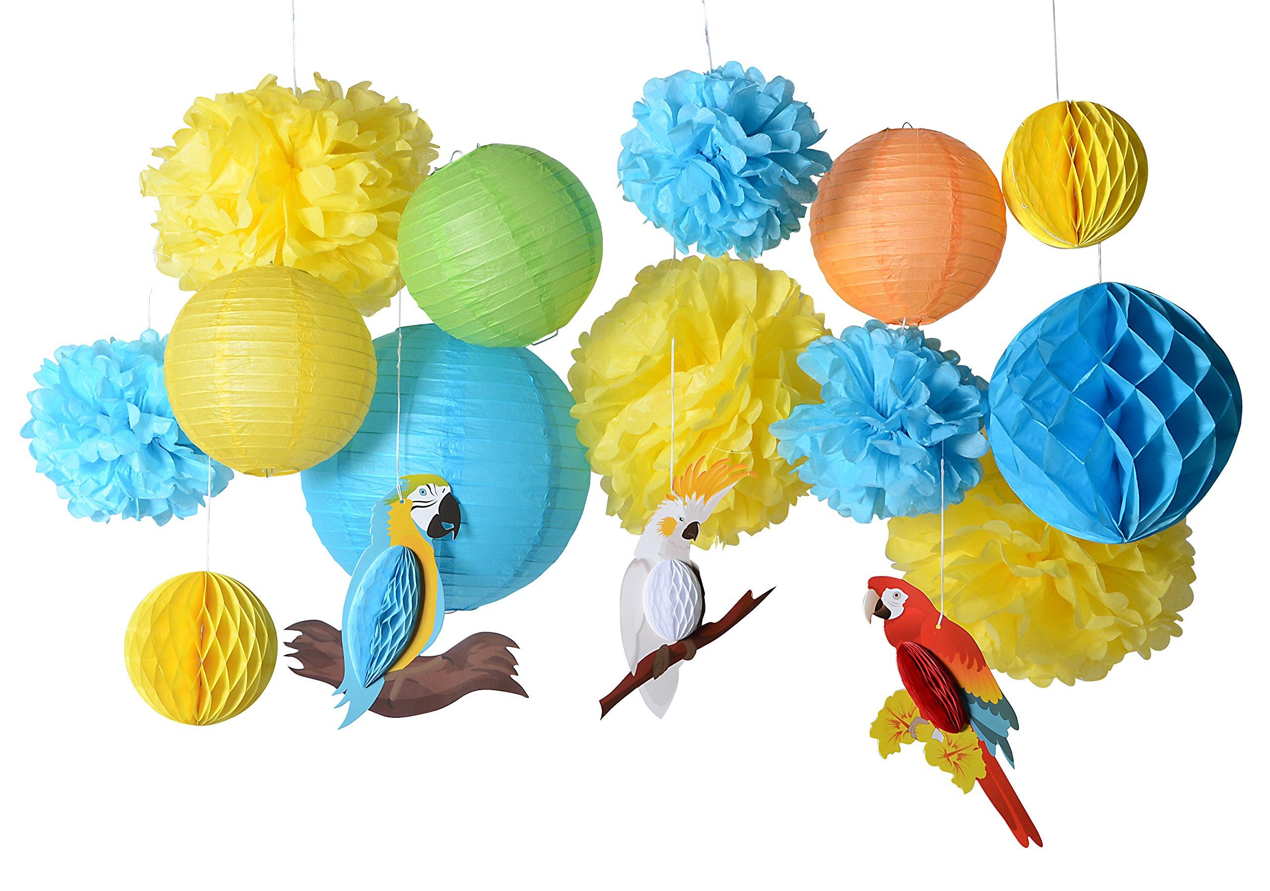 PAPER JAZZ 16pcs Parrot tropical birds Honeycomb Paper Pom Poms Lanterns for Wedding Birthday Summer Beach Seaside Hawaiian luan tiki Party Decorations Yellow Blue Green Color (parrot kit)