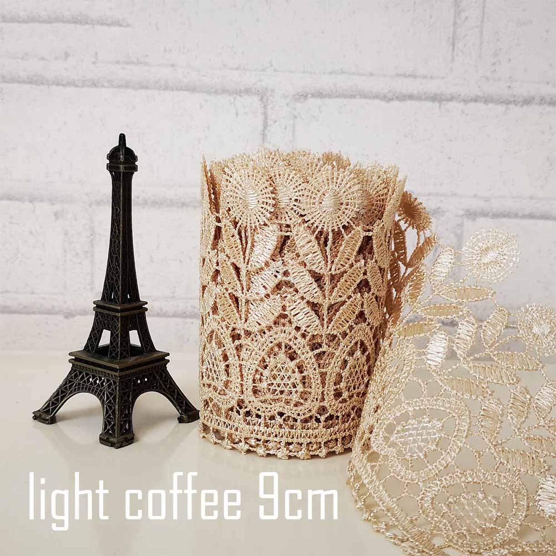8-10 cm breit Hellkaffeebraun//Wei/ß Einheitsgr/ö/ße Beige 9cm Width bestickt Spitzenbesatz wasserl/öslich reines Polyester