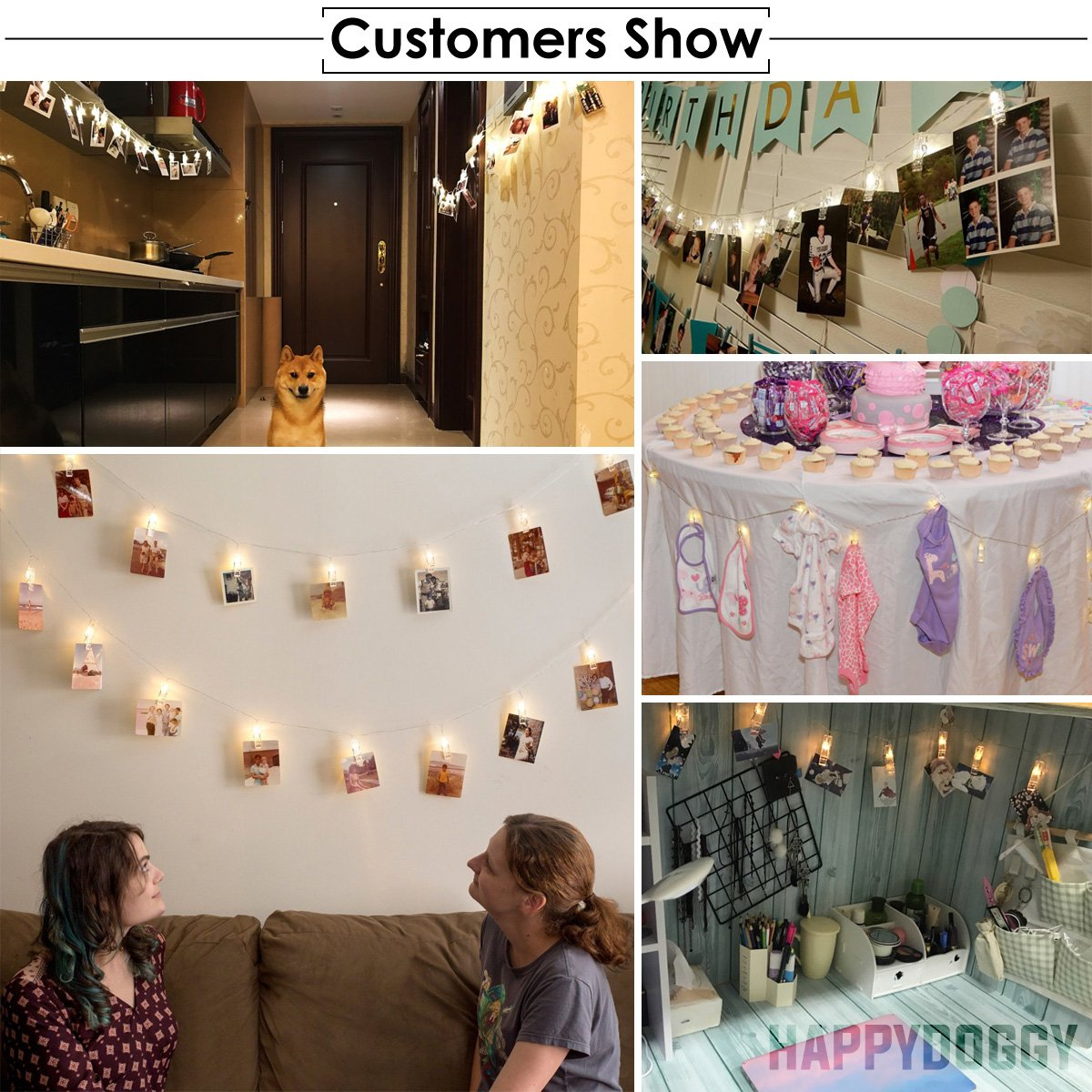40 LED Photo Clips String Lights – 8 Modes Wall Hanging Clothespin Picture Display Peg Card Holder, Girl Back to School Dorm Room Décor Essential, Birthday Party Halloween Christmas Decorations Gifts by HappyDoggy (Image #7)