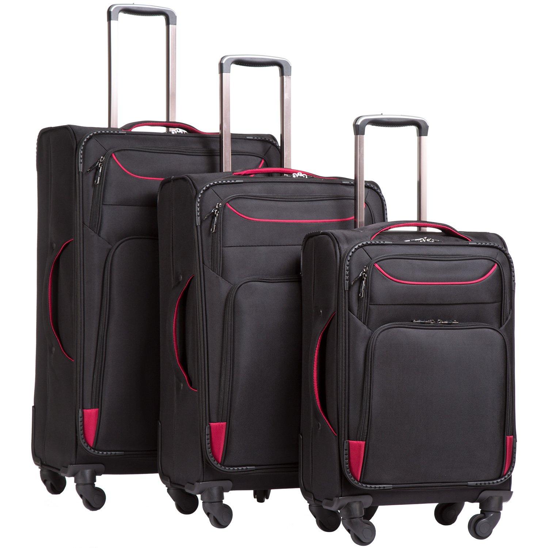 Coolife Luggage 3 Piece Set Suitcase Spinner Softshell lightweight (purple+sliver) YD000055