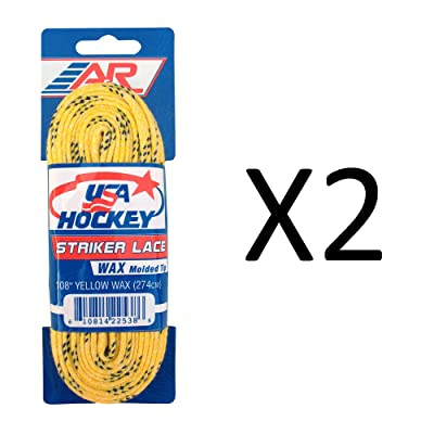 "A & R USA Yellow Waxed Hockey Skate Laces - 108"" : Sports & Outdoors"