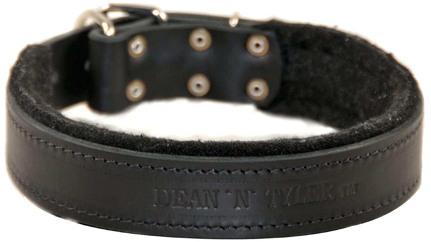 Dean and Tyler DT Delight , Leather Dog Collar with Felt Padding and Strong Hardware Black Size 38-Inch by 1-Inch Fits Neck 36-Inch to 40-Inch