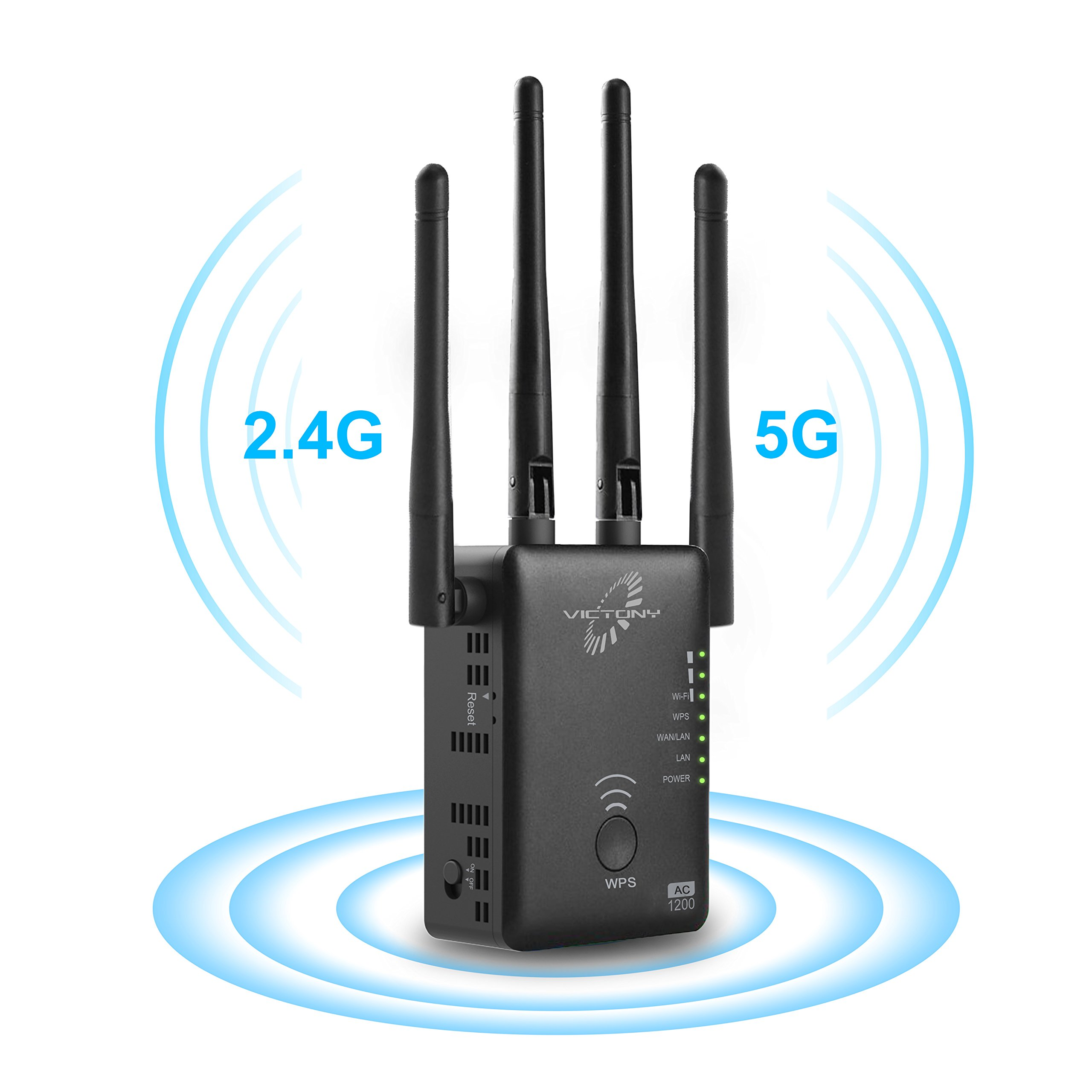 VICTONY 1200Mbps Wireless WiFi Repeater with External Antennas WiFi Range Range Extender for 2.4G and 5G