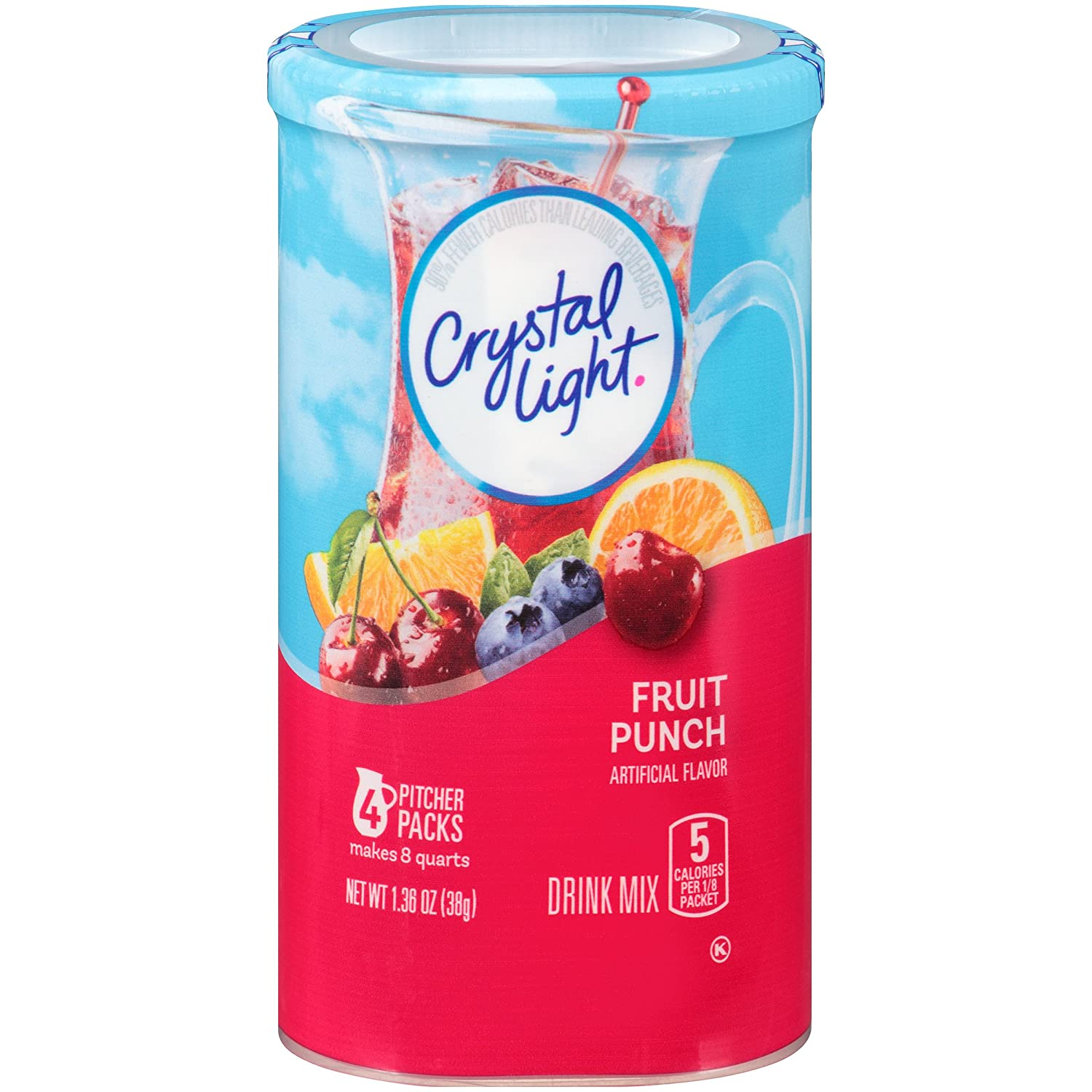 Crystal Light Drink Mix, Fruit Punch, Pitcher Packets, 4 Count, 1.36 oz (Pack of 12 Canisters)