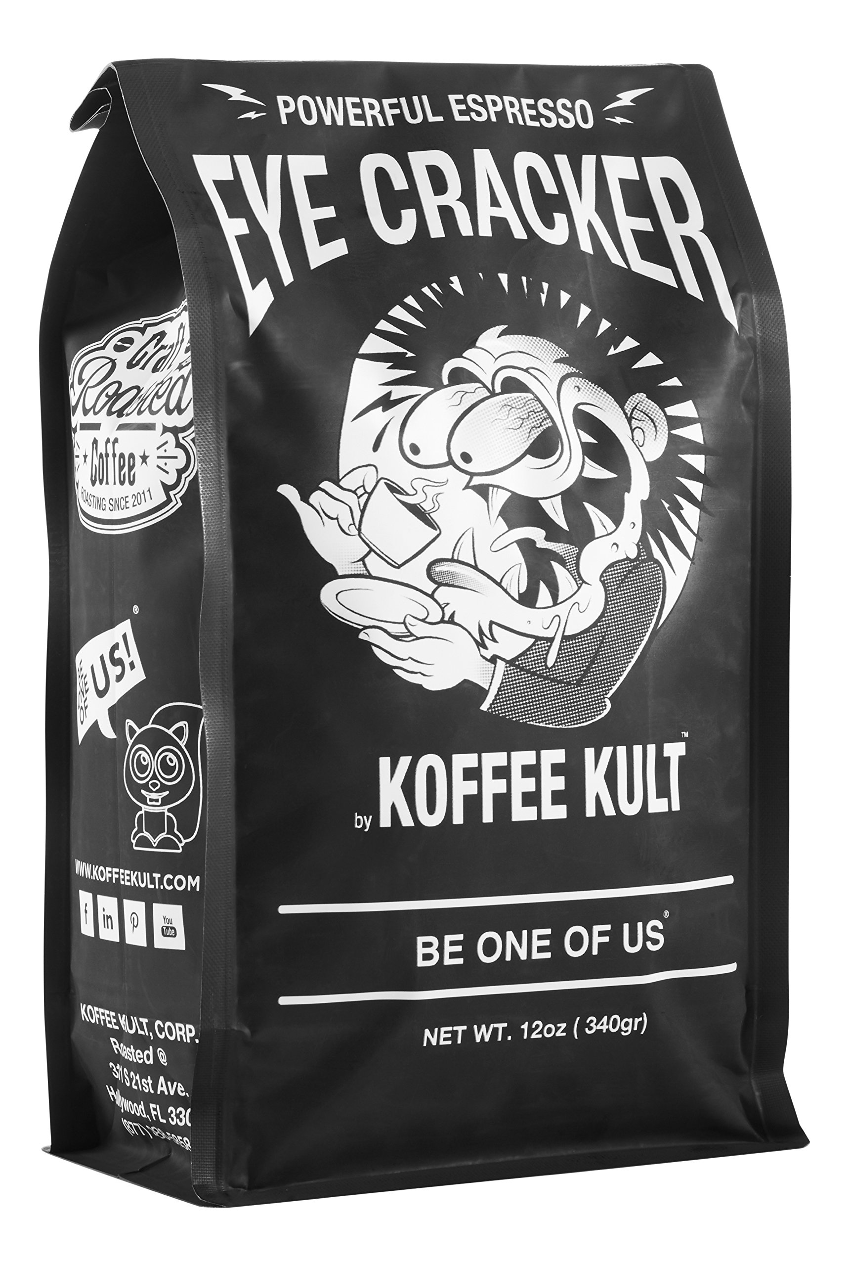 Koffee Kult Eye Cracker Espresso Beans - Bright, Bold Medium Roast with a Citrus Twist Coffee (12oz)