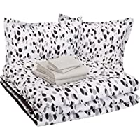 AmazonBasics Easy Care Super Soft Microfiber Kid's Bed-in-a-Bag Bedding Set - Full / Queen, Black Shadow Dots