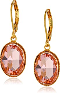 product image for 1928 Jewelry Gold-Tone Pink Genuine Swarovski Crystal Oval Drop Earrings