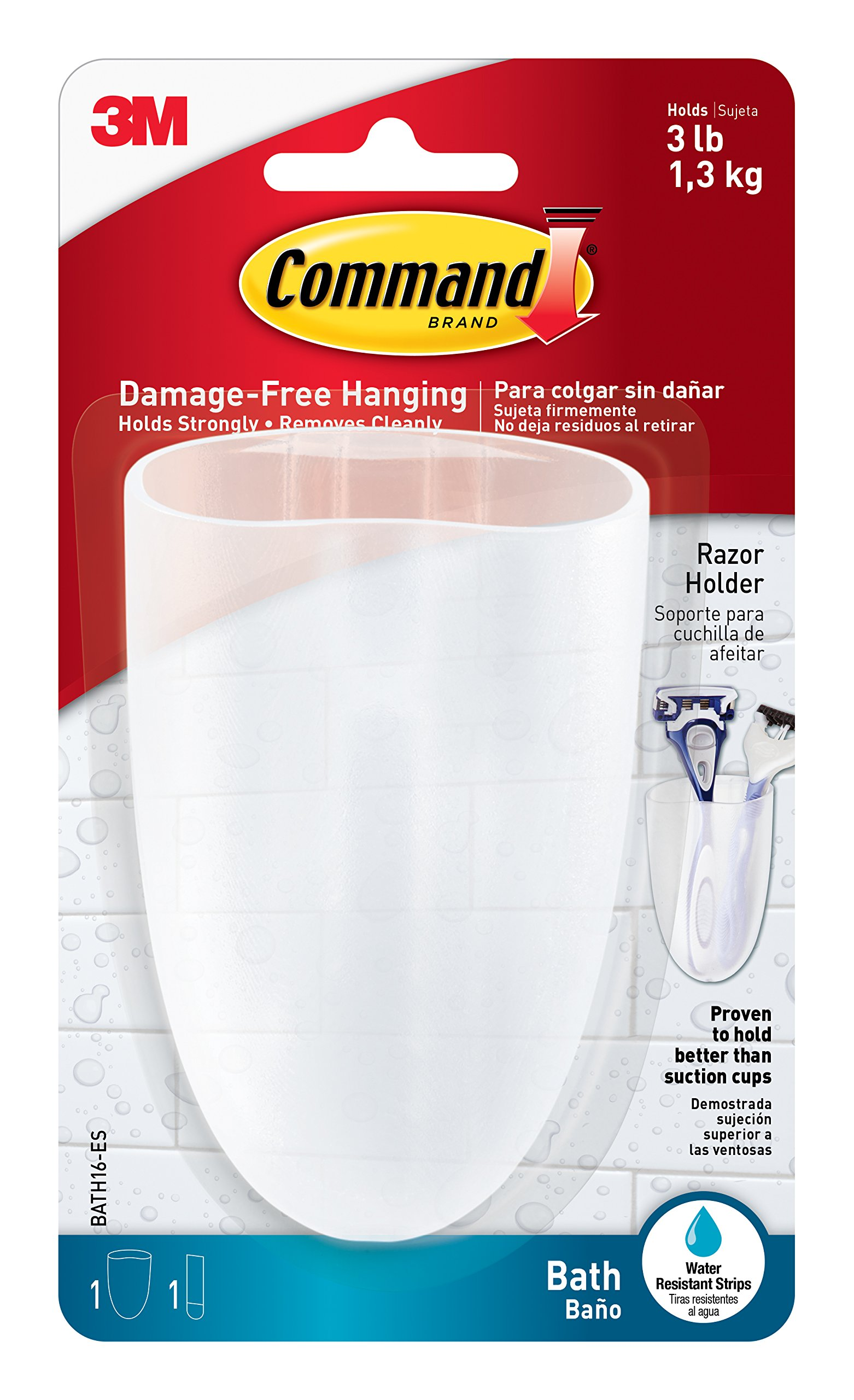 Command Razor Holder, Clear Frosted, 1-Holder, 1-Medium Water-Resistant Strip (BATH16-ES)