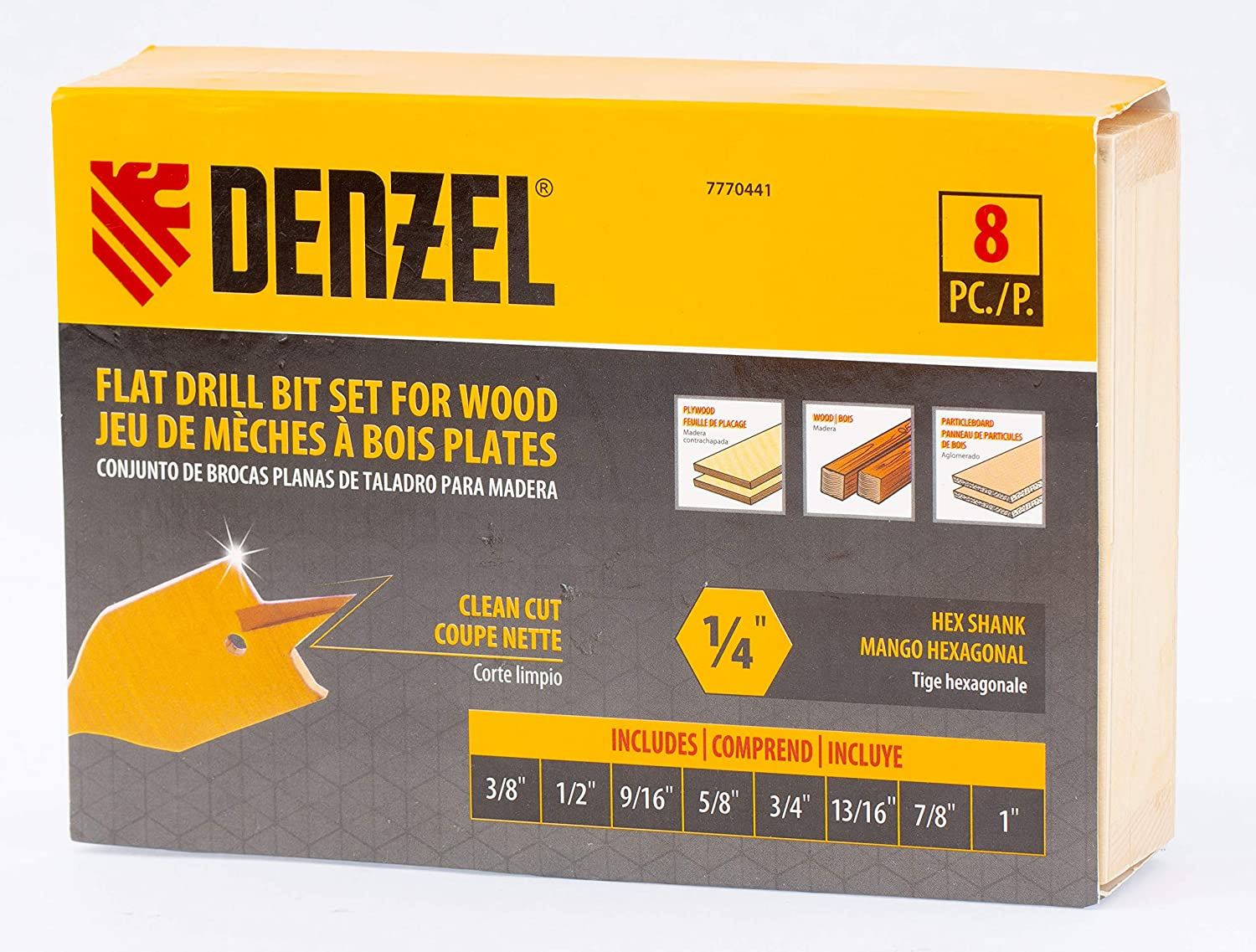 Wooden Case 7770441 Denzel Spade Bit Set 8 pc 3//8-to-1 Inch