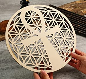 "Simurg 11.5"" Ankh in Flower of Life Wall Art Ancient Egyptian Wall Decor Crystal Grid Sacred Geometry Wooden Wall Art Hanging Wall Sculptures Laser Cut Wood Sign Home Decor"