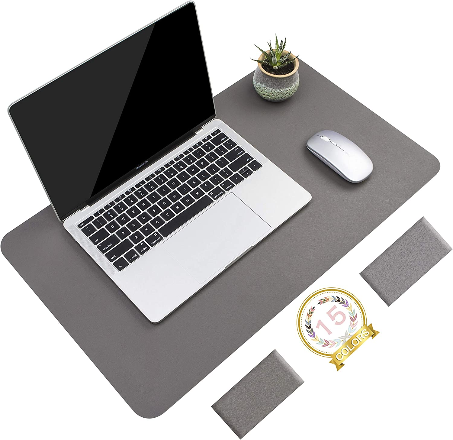 """Non-Slip Desk Pad, Waterproof PVC Leather Desk Table Protector, Ultra Thin Large Mouse Pad, Easy Clean Laptop Desk Writing Mat for Office Work/Home/Decor(Dark Gray, 23.6"""" x 13.7"""")"""