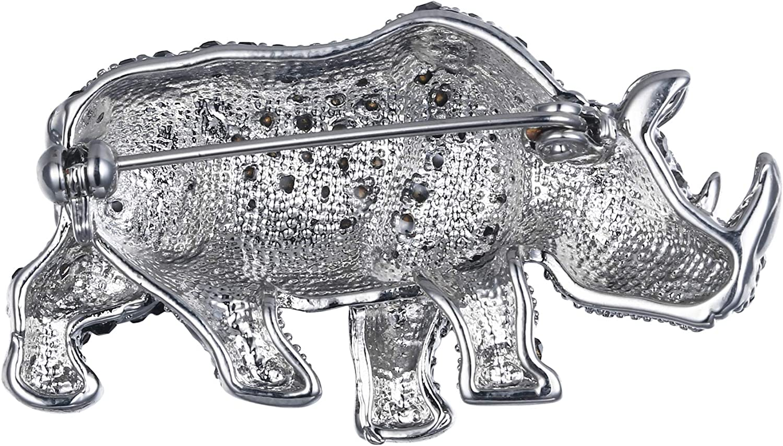 EVER FAITH Womens Austrian Crystal Party Lovely Rhinoceros Animal Brooch Pin