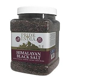 Pride Of India - Himalayan Black Rock Salt - Coarse Grind, 2.2 Pound (1 KG) - Kala Namak - Contains 84+ Minerals - Perfect for Cooking, Tofu Scrambles, Grinder Use, Kitchen, Restaurant & Bath Salt