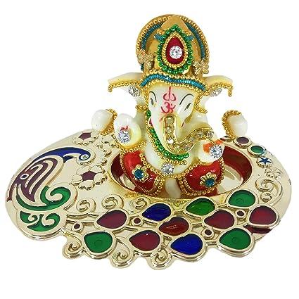 Sacred Blessings™ Multicolour Ganesha on Beautiful Tray 11 cm (L) X 8 cm(W) X 7.5 cm(H) Car Dashboard Idol