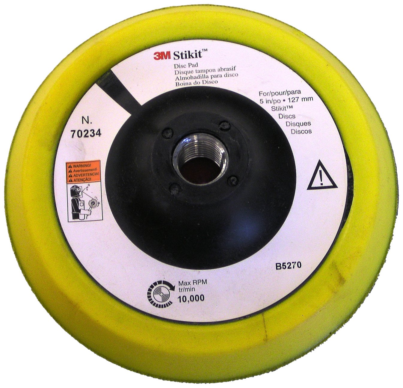 3M Stikit Disc Pad 70234, PSA, 5' Diameter, 1/2' Thick, 5/8-11 Thread, Yellow/Blue (Pack of 1) 5 Diameter 1/2 Thick