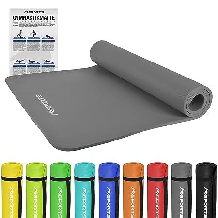 MSPORTS Gymnastikmatte Premium inkl. Übungsposter + Tragegurt | Hautfreundliche - Phthalatfreie Fitnessmatte 190 x 60 x 1,5 c