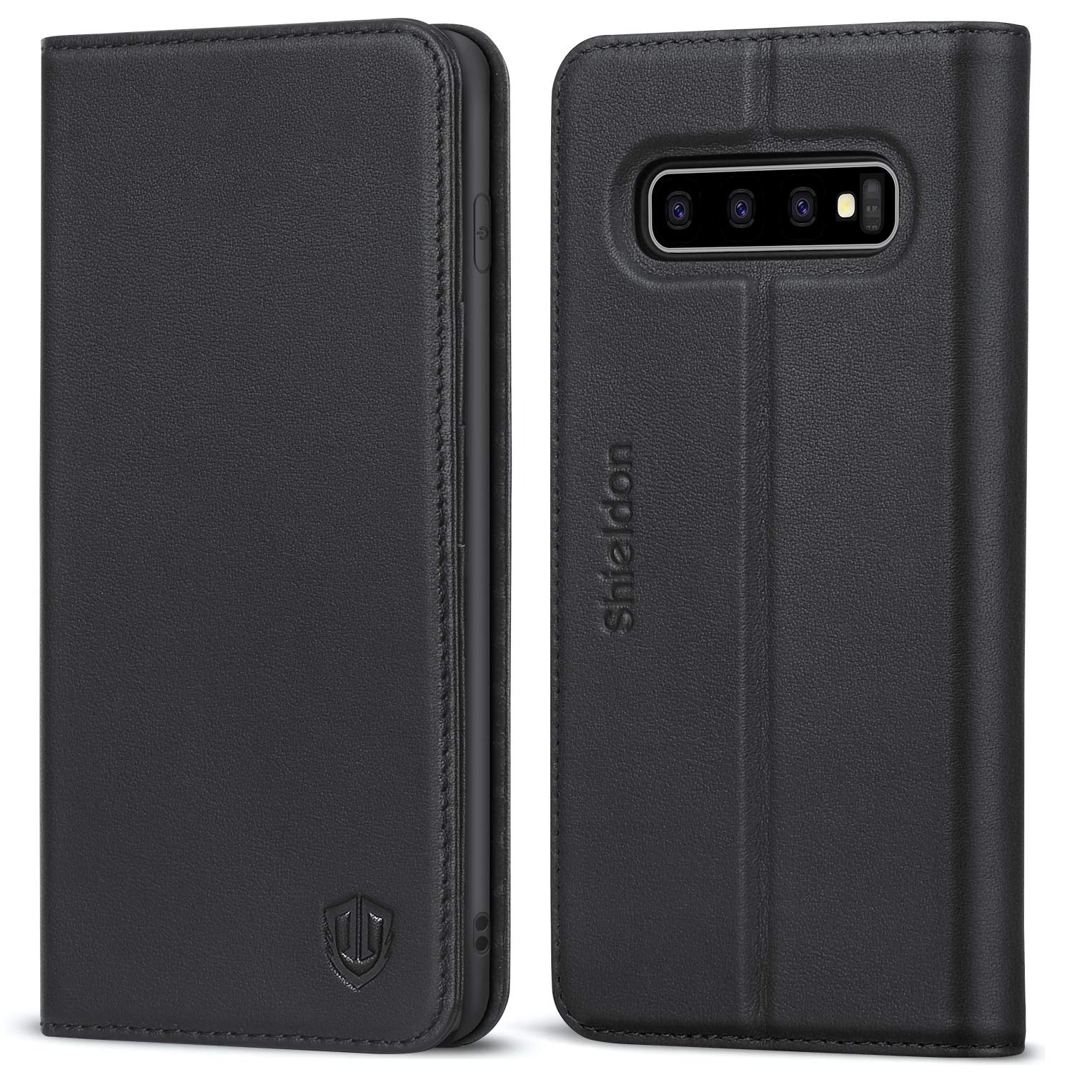 SHIELDON Galaxy S10 Plus Case, Genuine Leather S10+ Plus Wallet Book Case RFID Blocking Credit Card Slot Flip Magnetic Stand Case Compatible with Galaxy S10Plus (2019 Release) - Black