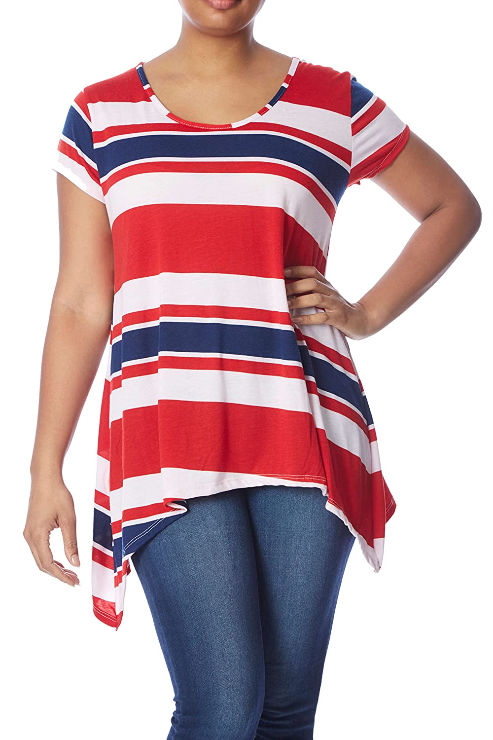Womens Plus Size Sharkbite Top: Long Stripe Tunic High-Low Hem, Cap Sleeve Shirt