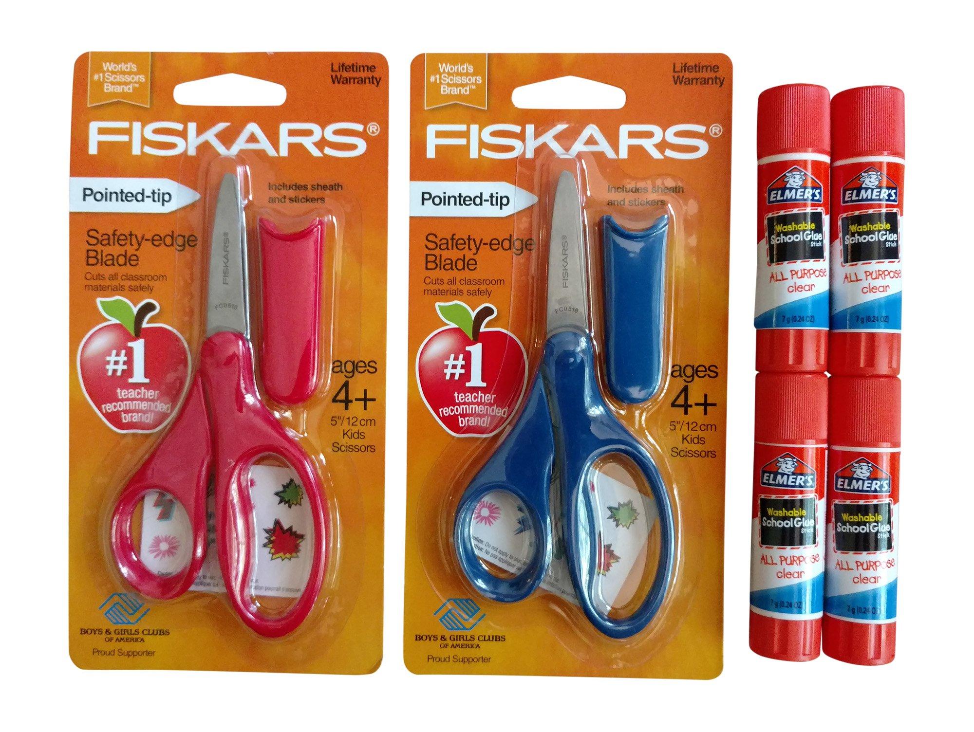 School Supplies Bundle: Fiskars 5'' Pointed-Tip Kid Scissors with Sheath - Set of 2 & Elmer's Glue Sticks - Set of 4 (Dark Blue & Red)