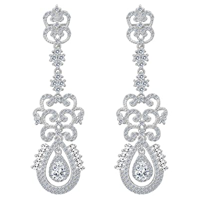 TENYE Women's Full Cubic Zirconia Wedding Teardrop Stud Earrings UlChHBIS1