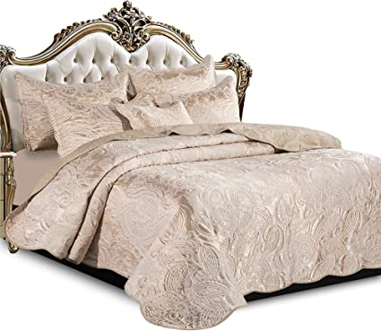 240 x 260 cm Luxury Quilted Bedspread Duvet Cover with Pillow Covers 220 x 240cm