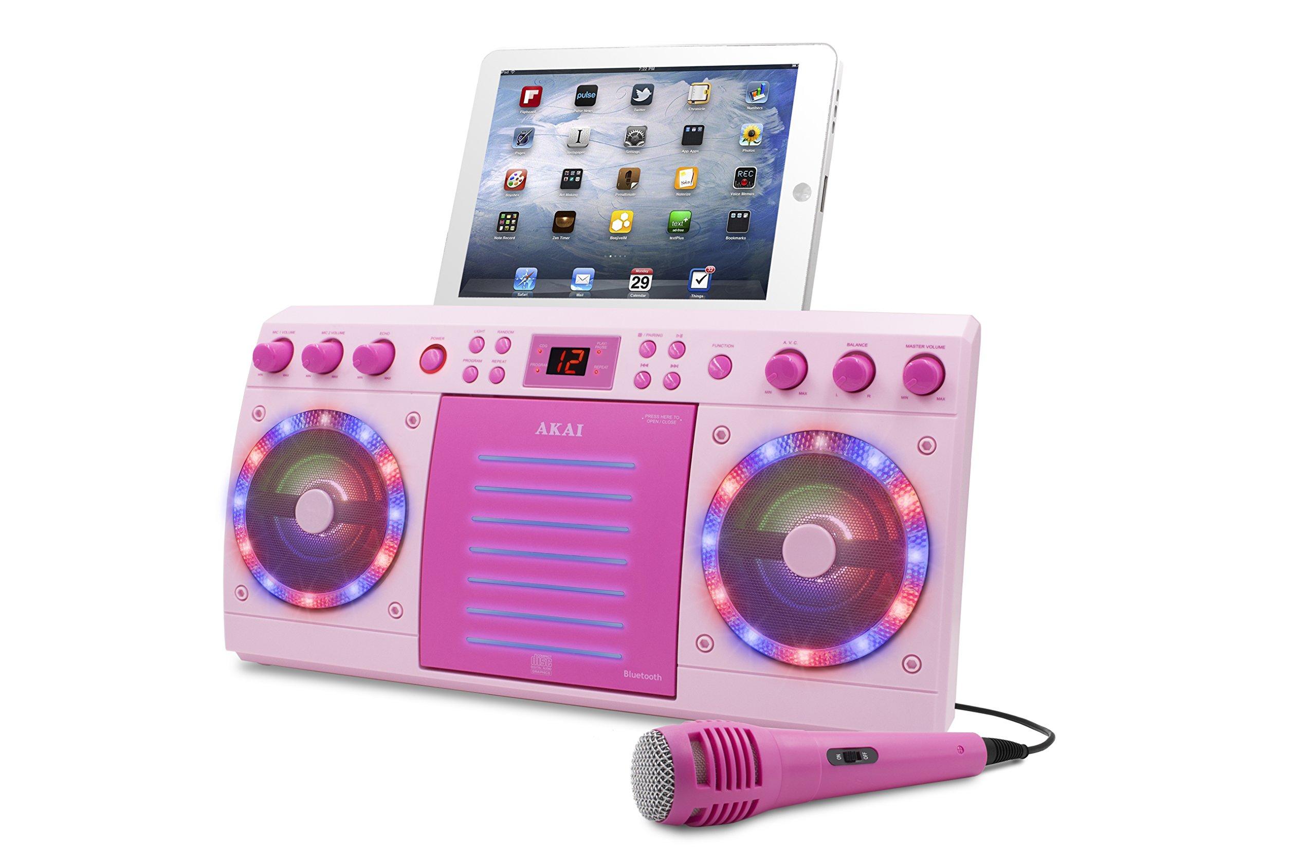 Akai KS303P-BT Bluetooth CD&G Karaoke System, Pink