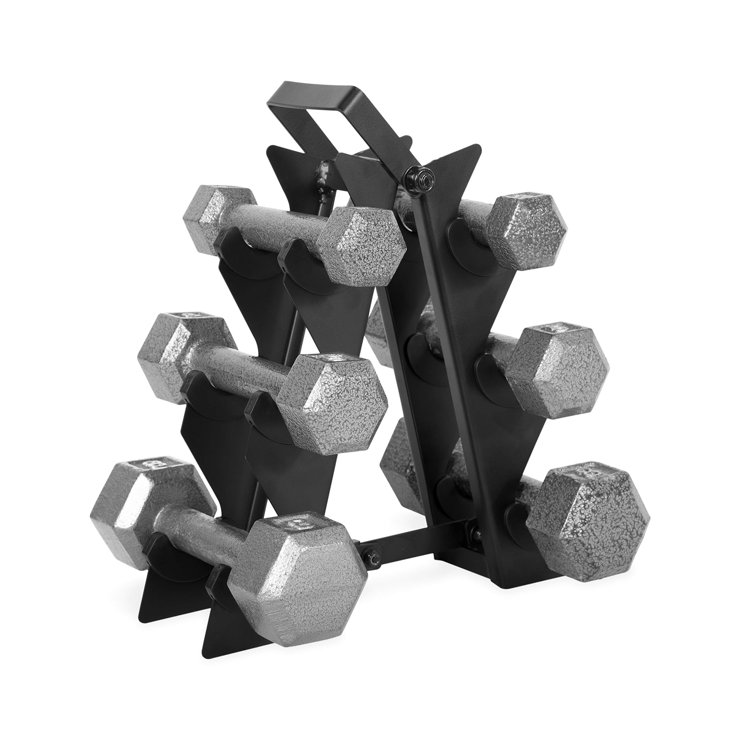 WF Athletic Supply Dumbbell Set with Storage Rack (32lb Solid Hex Dumbbell Set)
