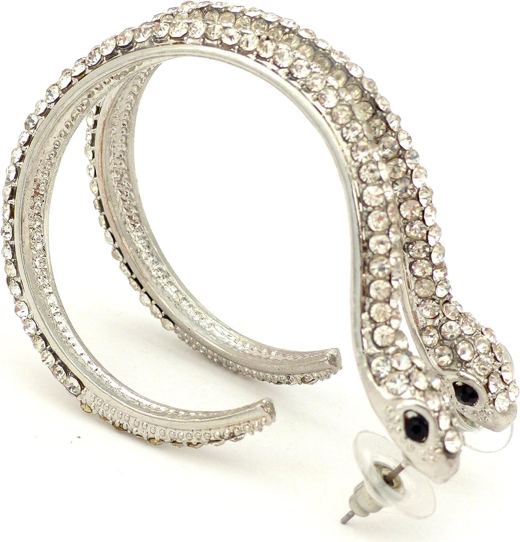 Trendit Damen-Ohrringe Silber-Schlange 2 St/ück Ohrringe Snake Strass Silber Ohrstecker mit edlem Strass U45x