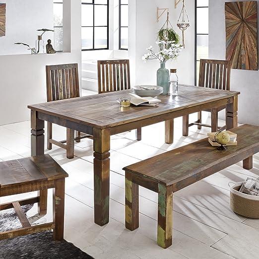 Mesa de comedor Delhi 180 x 90 x 76 cm mango Shabby Chic maciza de madera, diseño rústico comedor Barco Madera, mesa para comedor rectangular | 6 – 8 personas: Amazon.es: Hogar