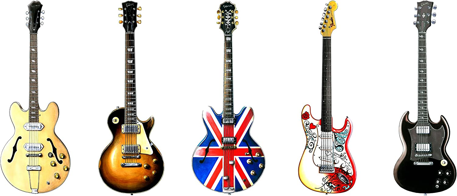 George Morgan Illustration Cinco Famosos Rock Guitarras Tarjeta de ...