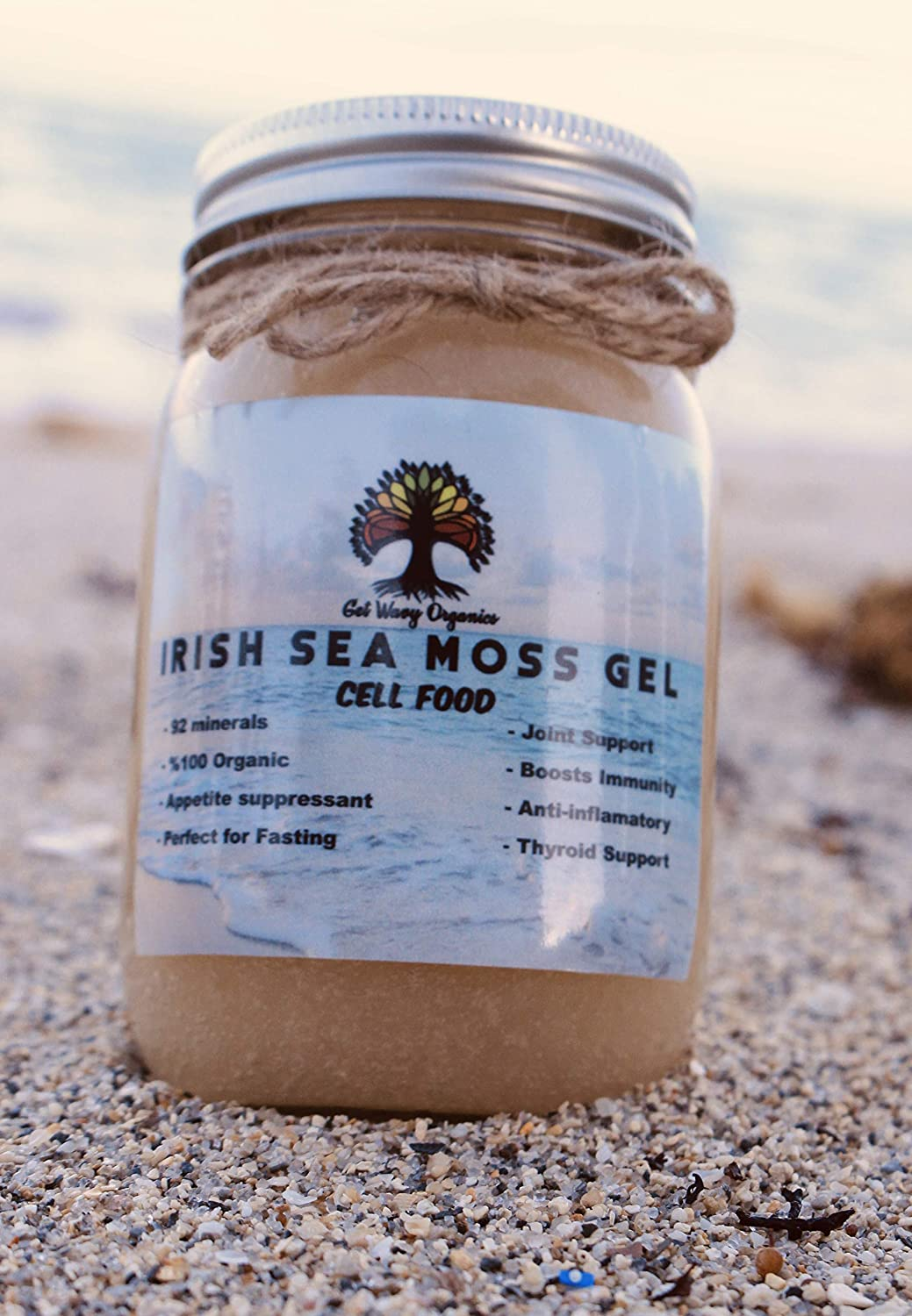 100% Organic Sea Moss Gel - Vegan Super Cell Food Rich in Vitamins A, B, C, D, E, K Calcium and Iodine, Potassium Iodide and Potassium Bromide, Selenium, Zinc and Natural Silica