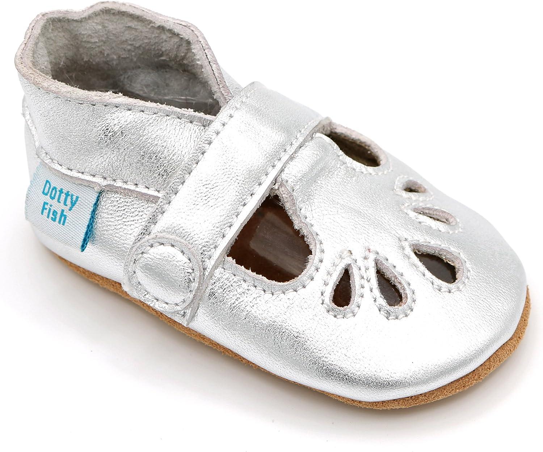 Chaussons antiderapant Bebe 6-12 Mois T-Bar Argent pour Filles Dotty Fish Chaussures b/éb/é en Cuir Souple 18-19 EU