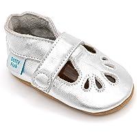 Dotty Fish Zapatos de Cuero Suave para bebés. Sandalias T-Bars para niños y niñas. Antideslizante. 0-6 Meses a 18-24…