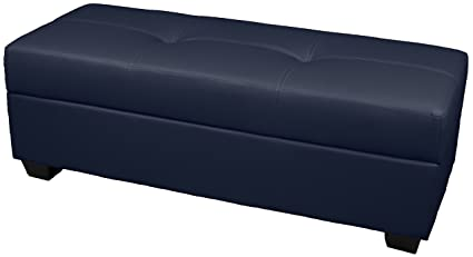 Incredible 48 X 19 X 18 High Tufted Padded Hinged Storage Ottoman Bench With Storage Area Divider Leather Look Navy Beatyapartments Chair Design Images Beatyapartmentscom