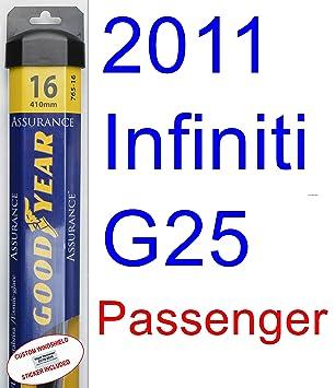 2011 Infiniti G25 hoja de limpiaparabrisas de repuesto Set/Kit (Goodyear limpiaparabrisas blades-assurance): Amazon.es: Coche y moto