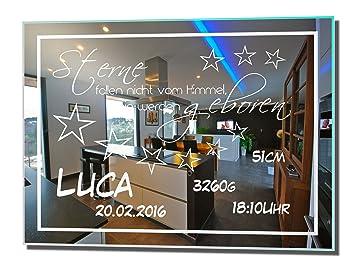 Super Motivspiegel Geburt 16 30x40cm Spiegel mit Gravur ihrer CS73