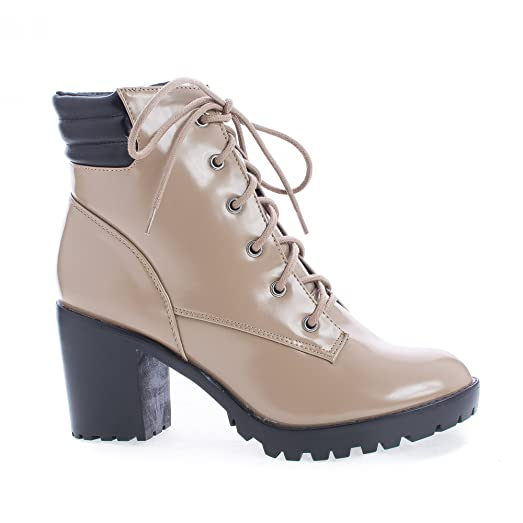 Lace Up Padded Collar Lug Sole Heel Combat Ankle Boots