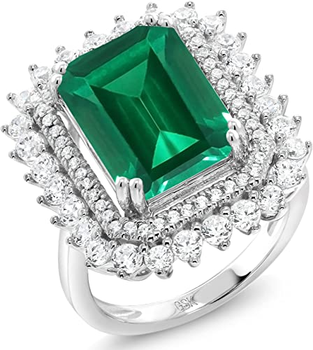 Gem Stone King 925 Sterling Silver Green Simulated Emerald Womens Ring Available 5,6,7,8,9 2.78 Ct Emerald Cut