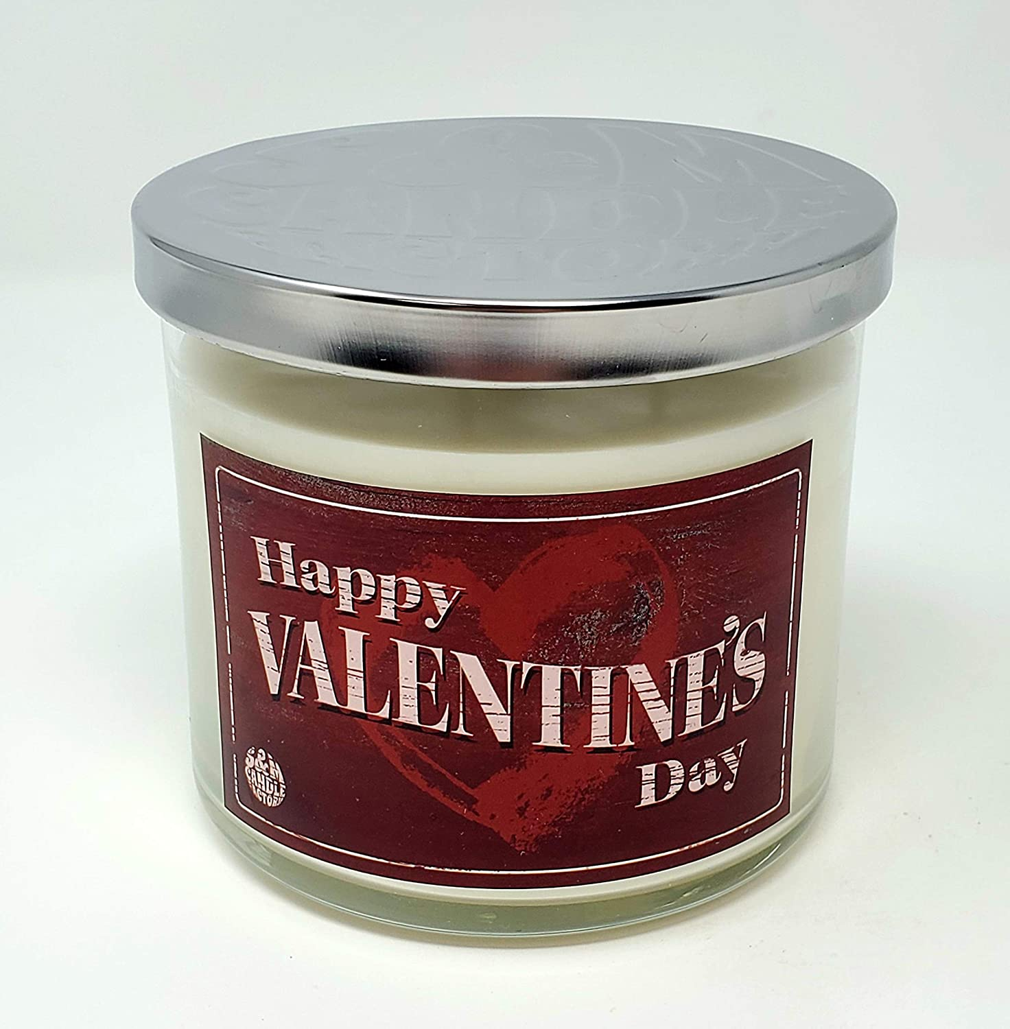 Happy Valentine's Day Candle ~ Winter Candy Apple Scented 3 Wick Jar Candle ~ Rustic Vintage Candle