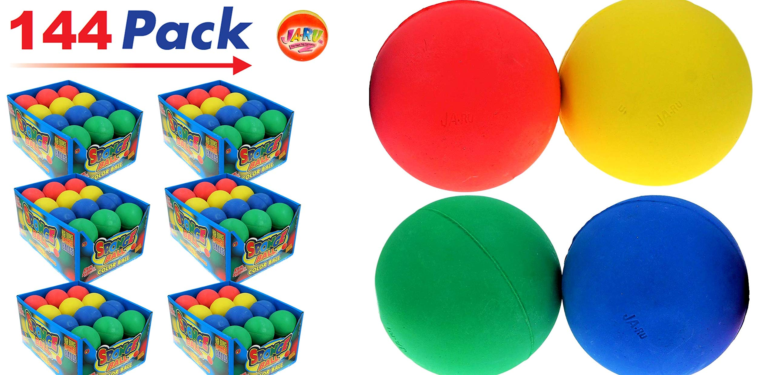 Rubber Bouncy Ball Colors Style (Pack of 144) 2.5'' Hi Bounce Same Like Pinky Balls for Play or Massage Therapy. Plus 1 Small JA-RU Ball. # 978-144p by JaRu