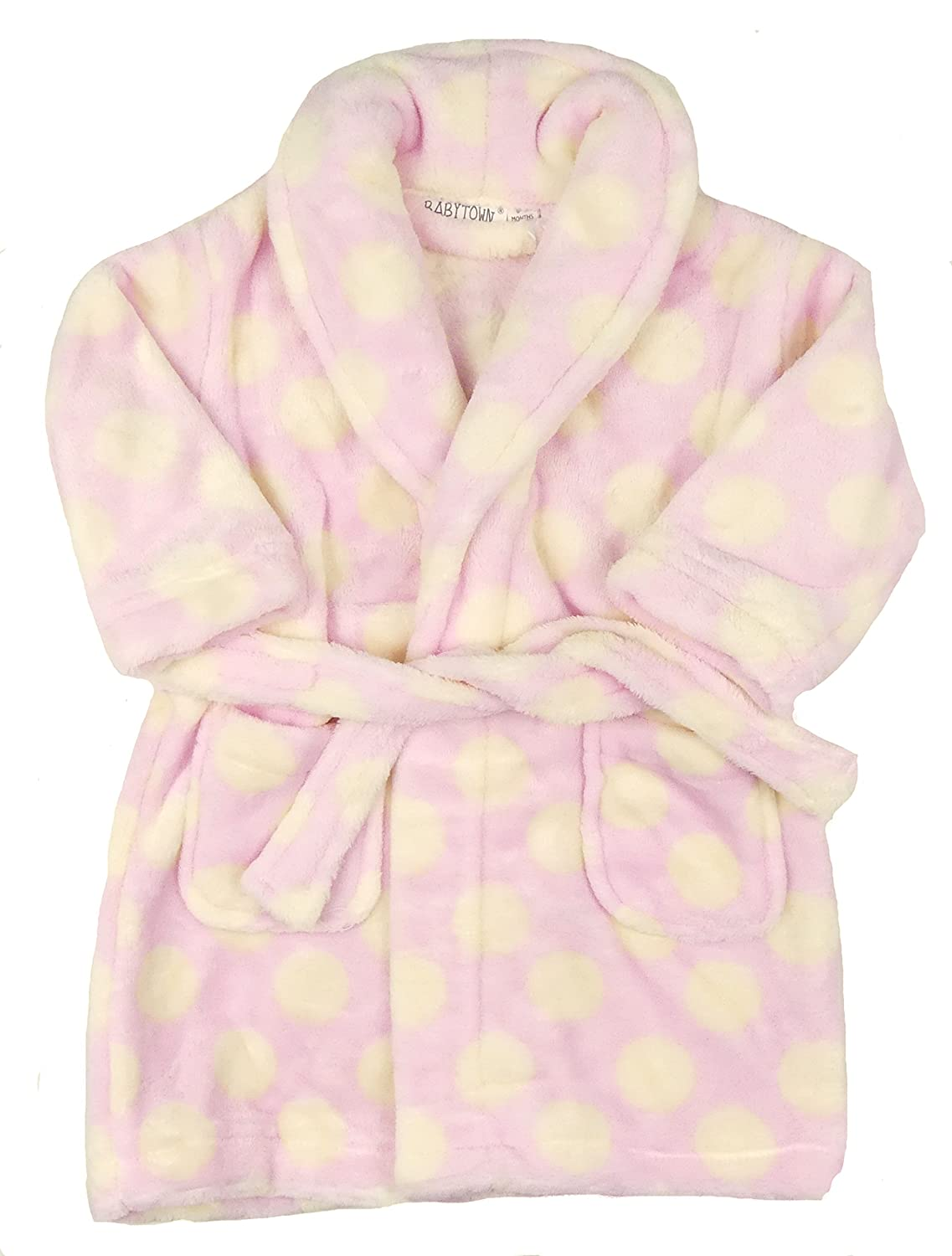 BABY TOWN Baby Girls Bathrobe Dressing Gown with Shawl Collar Soft Cosy and Warm 6-12m 12-18m 18-24m
