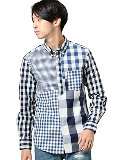 Crazy Pattern Block Check Buttondown Shirt 1211-599-7064: Navy