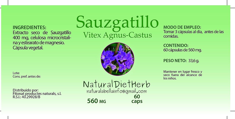 NaturalDietHerb- SAUZGATILLO 560 mg 60 caps / Vitex Agnus-Castus: Amazon.es: Salud y cuidado personal
