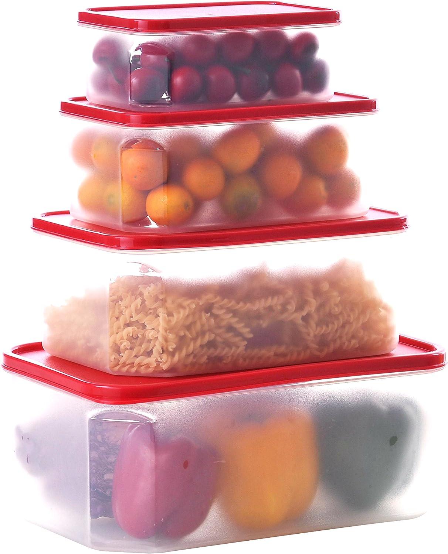 Uniware Microwave Safe Dishwasher Safe Freezer Safe Rectangular Plastic Food Container Set with Crimson PE Lid, Set of 4 (Large (4.8 L/ 2.8 L/ 1.6 L/ 0.8 L))
