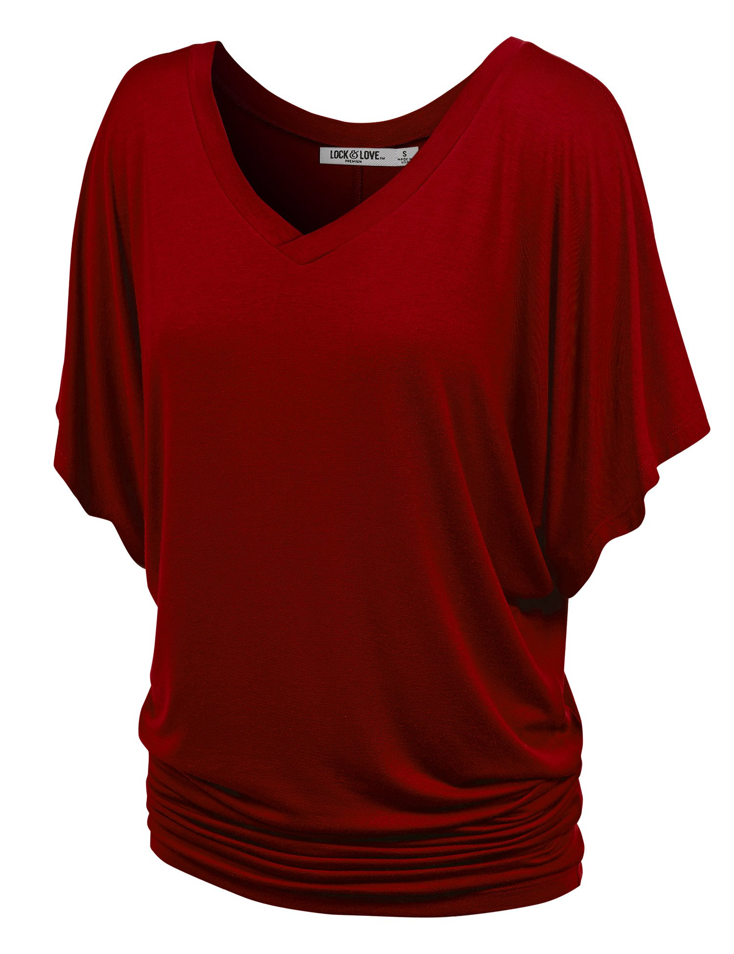 Lock and Love WT1038 Womens V Neck Short Sleeve Dolman Top L Wine