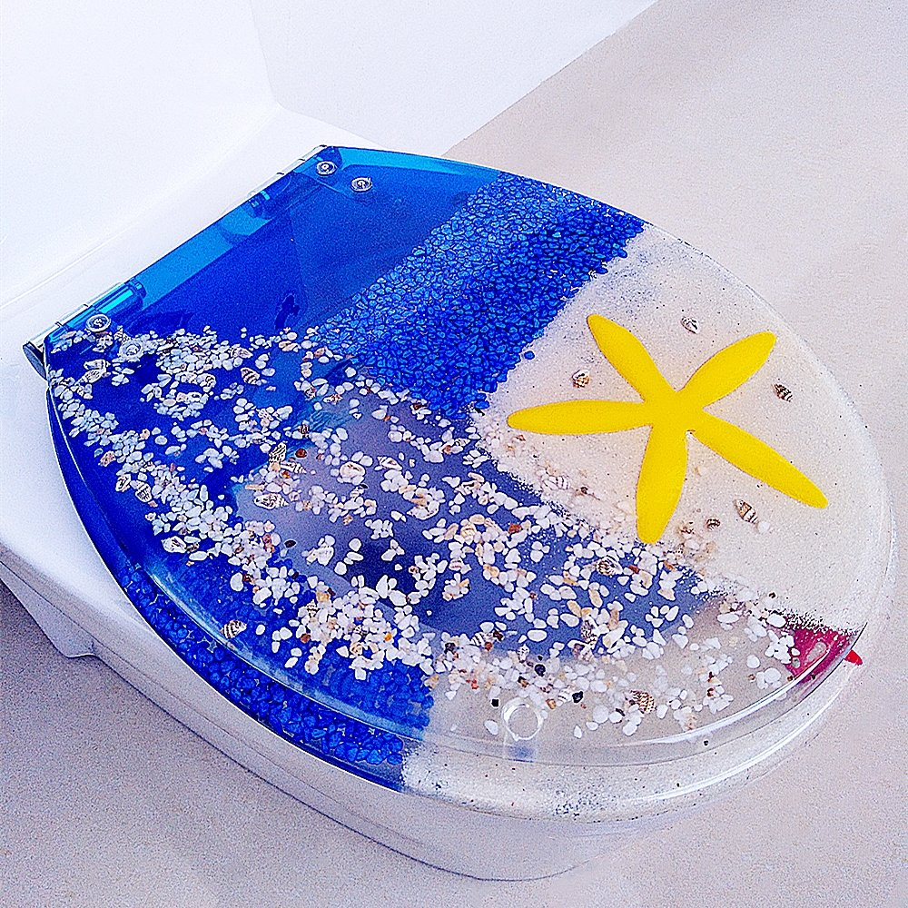 Elongated Real Seashell Sands and Starfish for U//V//O Type Toilet Crystal Blue 3D Effects Heavy Duty Toilet Lid with Dolphin Heavy Duty Slose Close Resin Toilet Seat with Cover