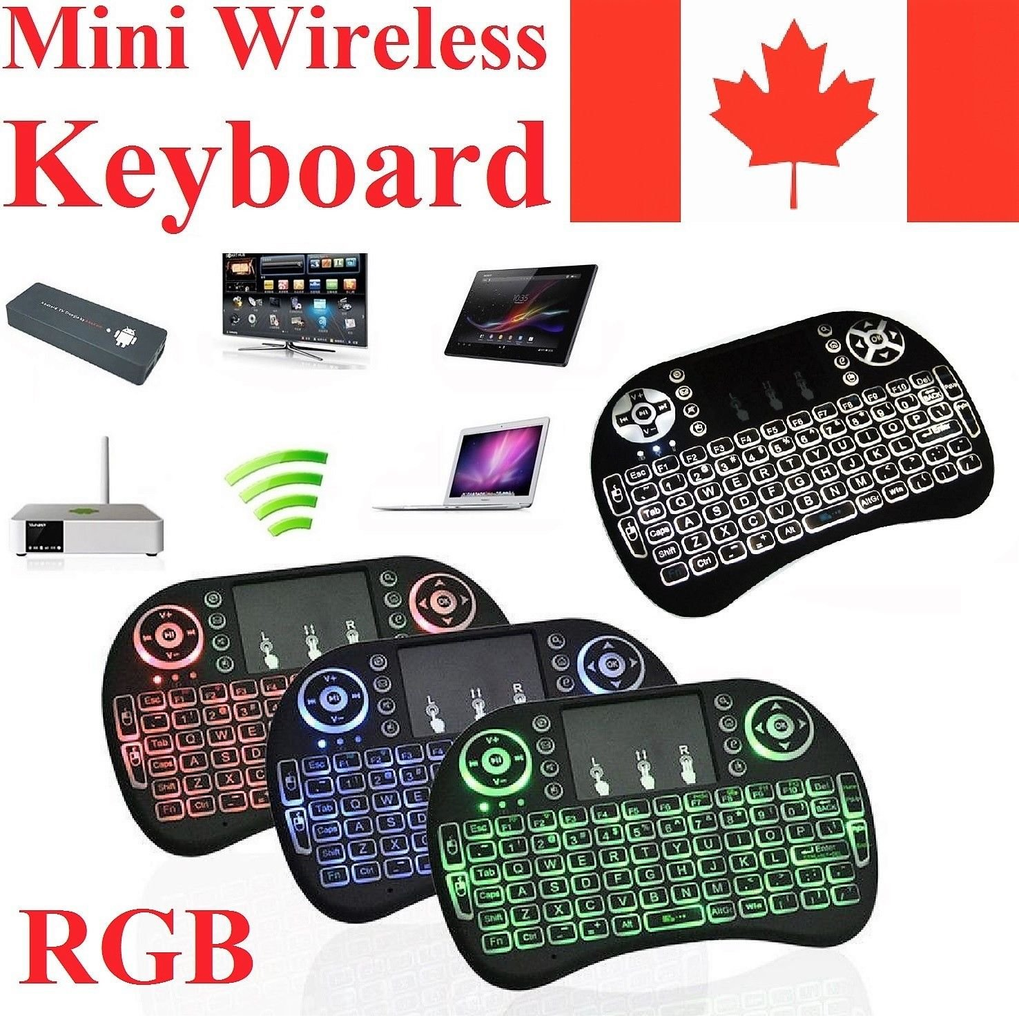 2018 Newest CIBN i8+ Mini Wireless Touch Keyboard Handheld Remote, Touchpad Mouse Combo, 3 Color LED Backlit Remote Control for Android TV Box, PS3 Xbox, Raspberry Pi 3, HTPC,Windows 7,8,10. china